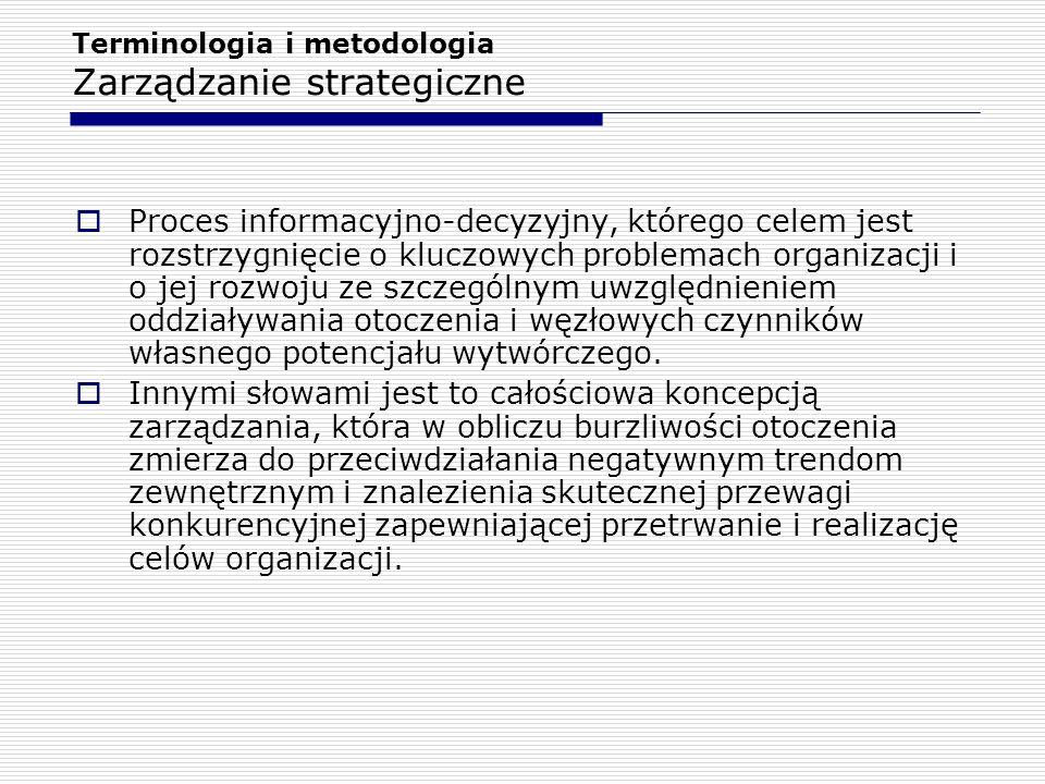 Terminologia i metodologia Zarządzanie strategiczne  Proces informacyjno-decyzyjny, którego celem jest rozstrzygnięcie o kluczowych problemach organi