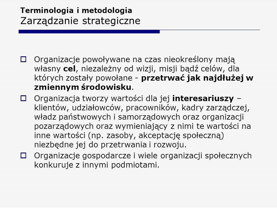 Terminologia i metodologia Zarządzanie strategiczne i.Formułowanie wizji, misji i celów strategicznych organizacji, ii.Konkretyzację strategii, zazwyczaj do postaci polityki kierownictwa, iii.Zapewnienie kluczowych zasobów: finansowanie organizacji, zapewnienie personelu, kształtowanie harmonijnych relacji z kluczowymi kontrahentami społecznymi, iv.Formułowanie strategii walki konkurencyjnej i kierowanie (albo co najmniej nadzór nad) realizacją tej strategii, v.Zarządzanie ryzykiem, często zaliczane do zarządzania finansowego, vi.Zarządzanie zmianą, vii.Zarządzanie rozwojem organizacji, viii.Zarządzanie kryzysowe, ix.Zarządzanie wartością organizacji, x.Formułowanie polityki przejęć i fuzji oraz realizacja tej polityki.