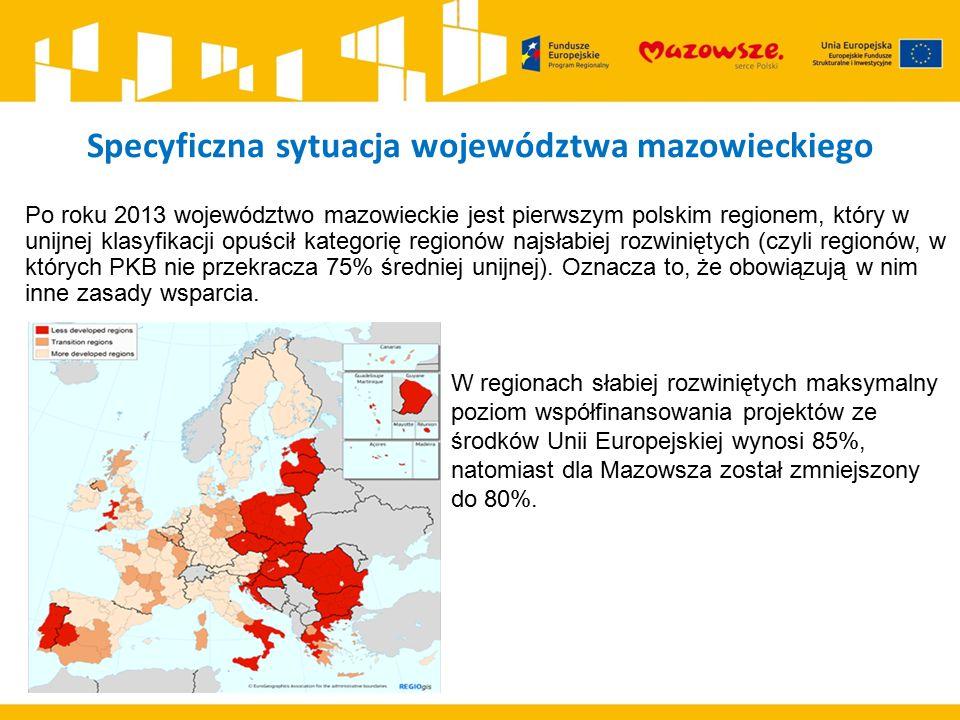Specyficzna sytuacja województwa mazowieckiego Po roku 2013 województwo mazowieckie jest pierwszym polskim regionem, który w unijnej klasyfikacji opuś