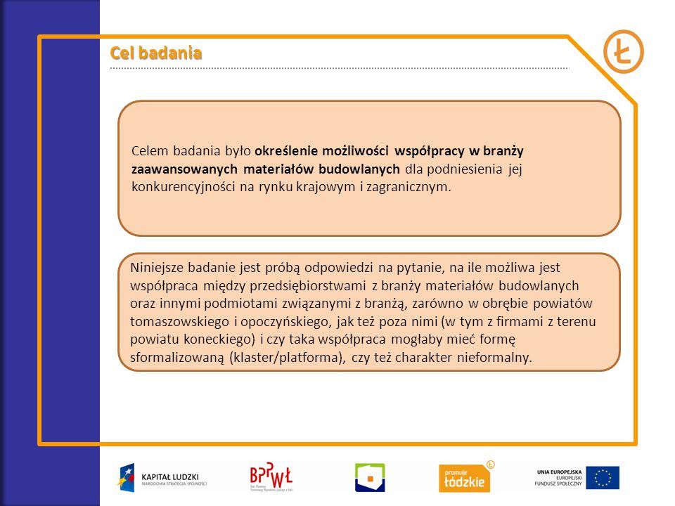 Celem badania było określenie możliwości współpracy w branży zaawansowanych materiałów budowlanych dla podniesienia jej konkurencyjności na rynku krajowym i zagranicznym.