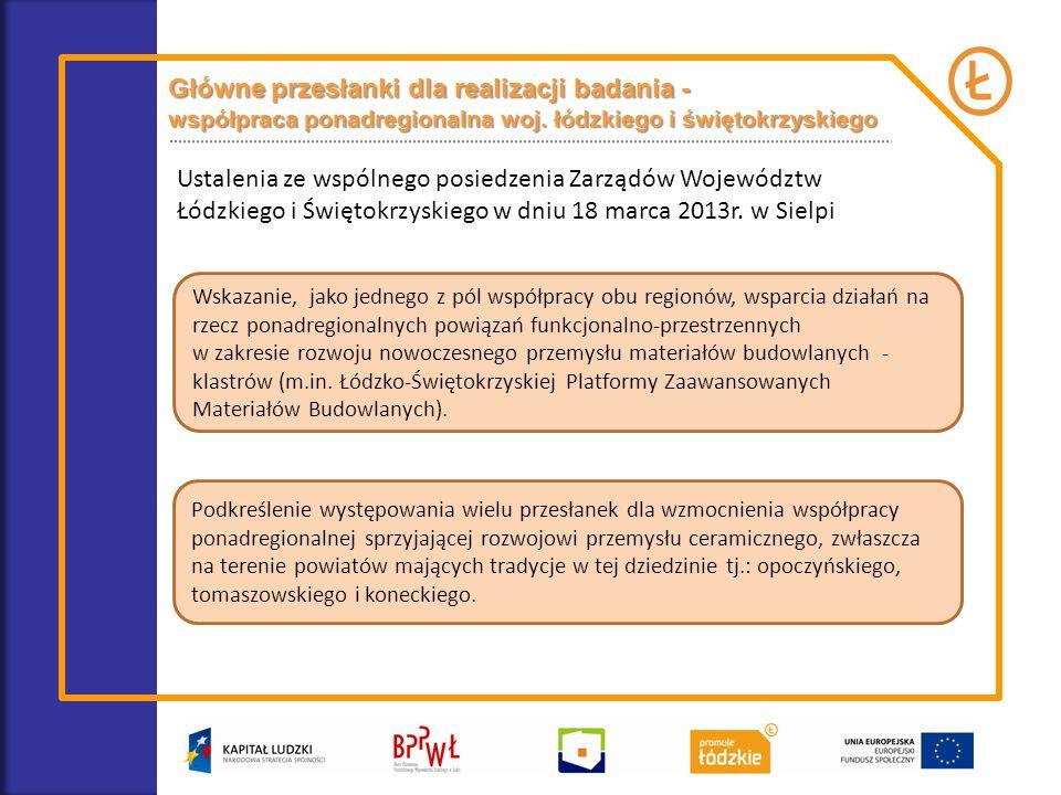 Podkreślenie występowania wielu przesłanek dla wzmocnienia współpracy ponadregionalnej sprzyjającej rozwojowi przemysłu ceramicznego, zwłaszcza na terenie powiatów mających tradycje w tej dziedzinie tj.: opoczyńskiego, tomaszowskiego i koneckiego.