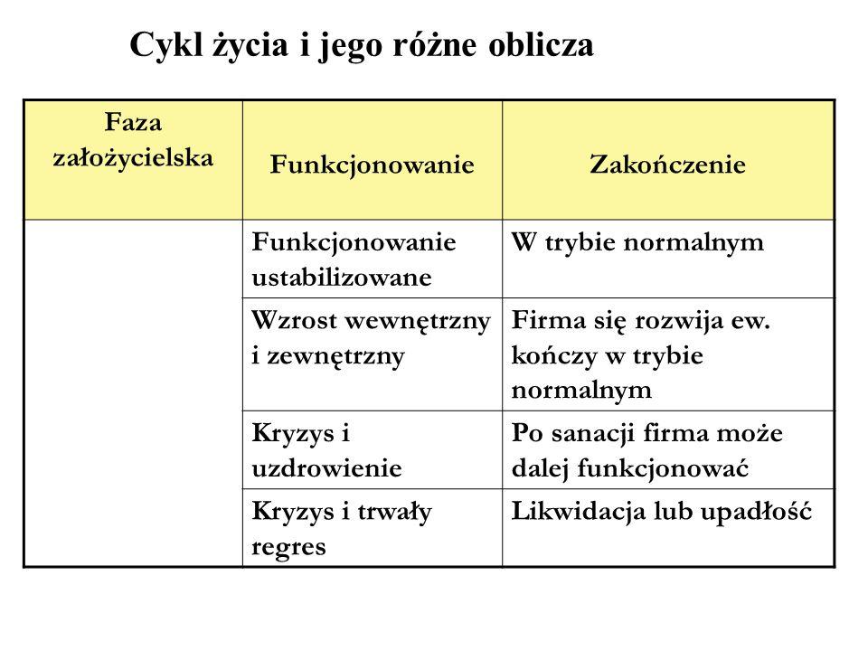 Cykl życia i jego różne oblicza Faza założycielska FunkcjonowanieZakończenie Funkcjonowanie ustabilizowane W trybie normalnym Wzrost wewnętrzny i zewn