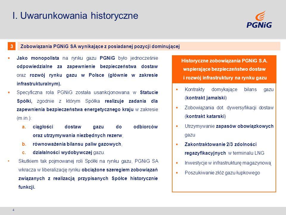 4 I. Uwarunkowania historyczne  Kontrakty domykające bilans gazu (kontrakt jamalski)  Zobowiązania dot. dywersyfikacji dostaw (kontrakt katarski) 