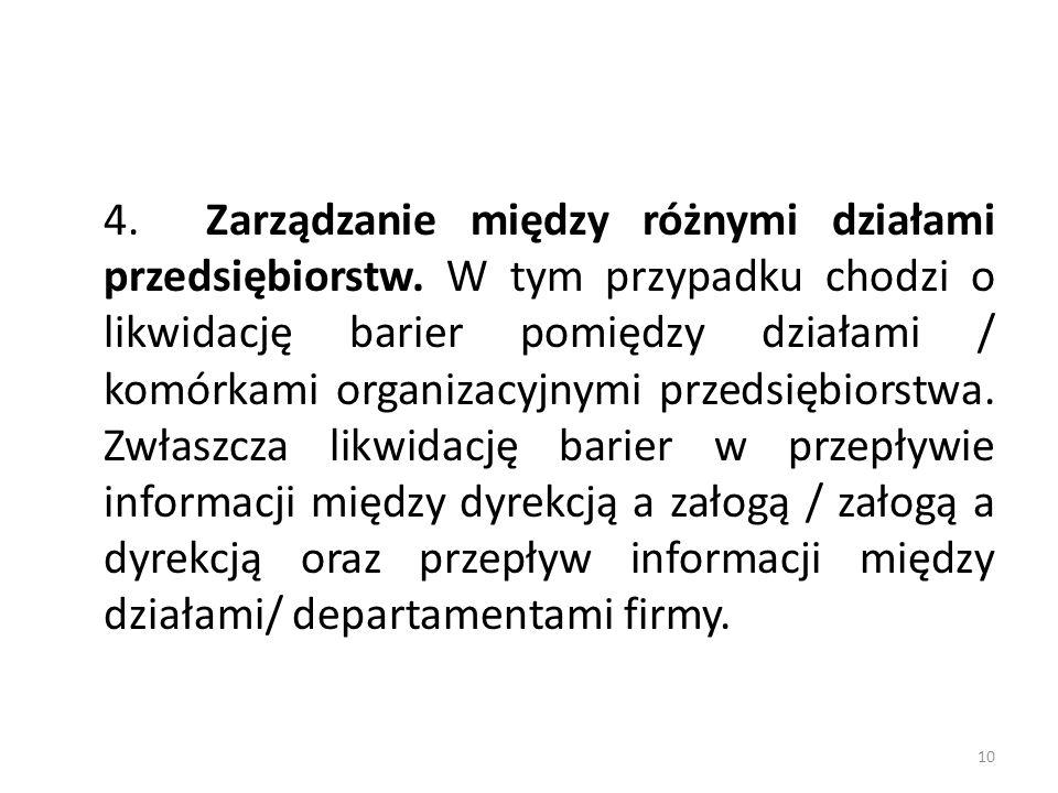 4.Zarządzanie między różnymi działami przedsiębiorstw.