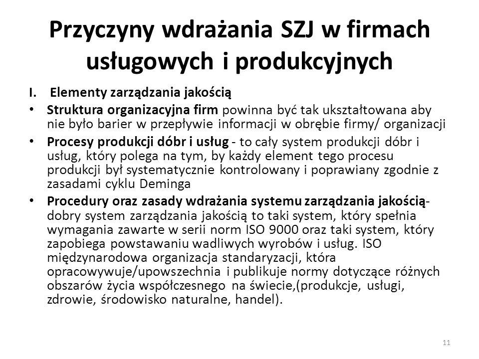 Przyczyny wdrażania SZJ w firmach usługowych i produkcyjnych I. Elementy zarządzania jakością Struktura organizacyjna firm powinna być tak ukształtowa