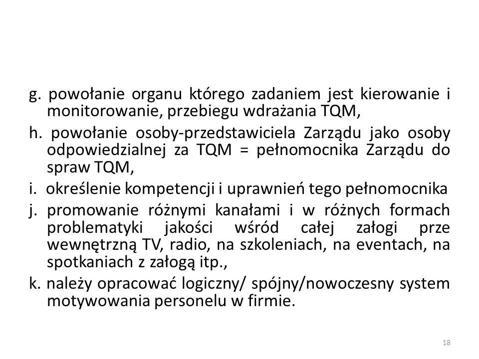 g. powołanie organu którego zadaniem jest kierowanie i monitorowanie, przebiegu wdrażania TQM, h. powołanie osoby-przedstawiciela Zarządu jako osoby o