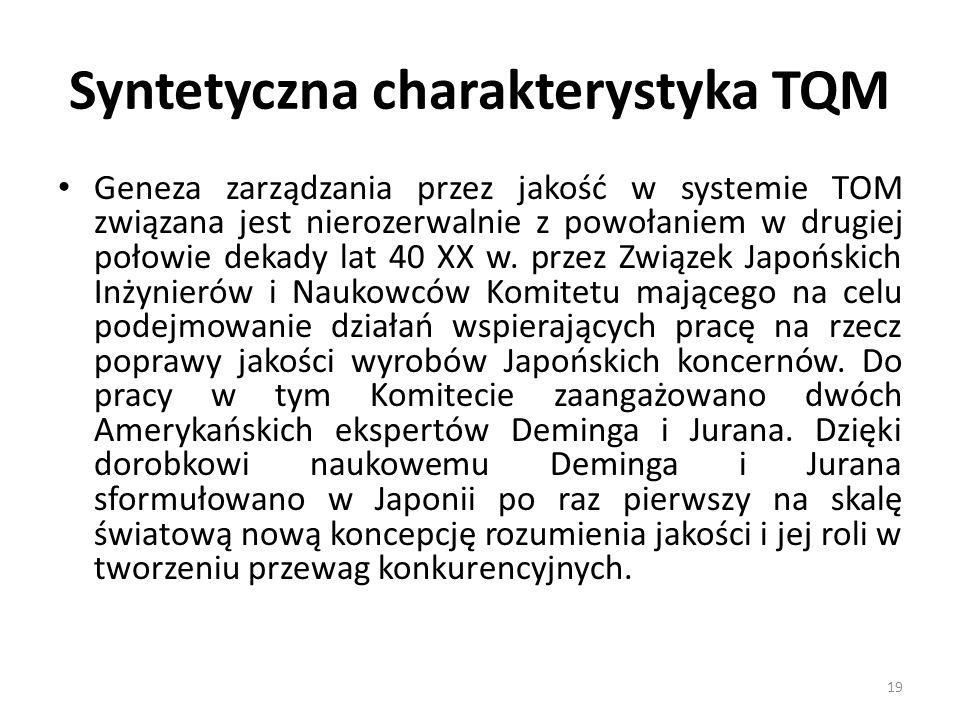 Syntetyczna charakterystyka TQM Geneza zarządzania przez jakość w systemie TOM związana jest nierozerwalnie z powołaniem w drugiej połowie dekady lat