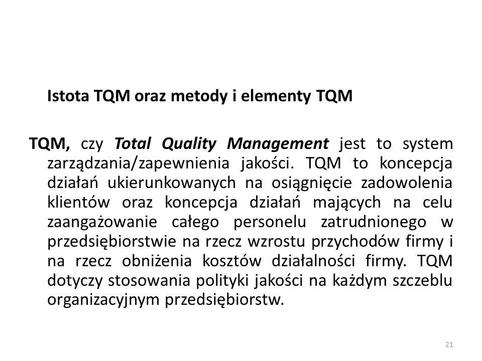 Istota TQM oraz metody i elementy TQM TQM, czy Total Quality Management jest to system zarządzania/zapewnienia jakości. TQM to koncepcja działań ukier