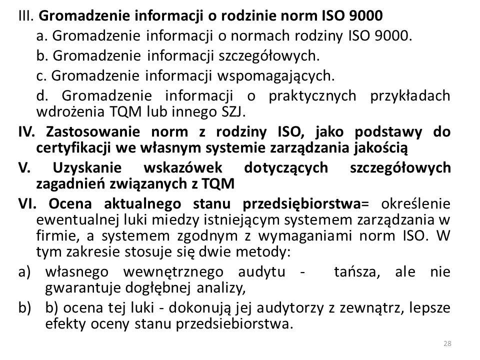 III. Gromadzenie informacji o rodzinie norm ISO 9000 a. Gromadzenie informacji o normach rodziny ISO 9000. b. Gromadzenie informacji szczegółowych. c.
