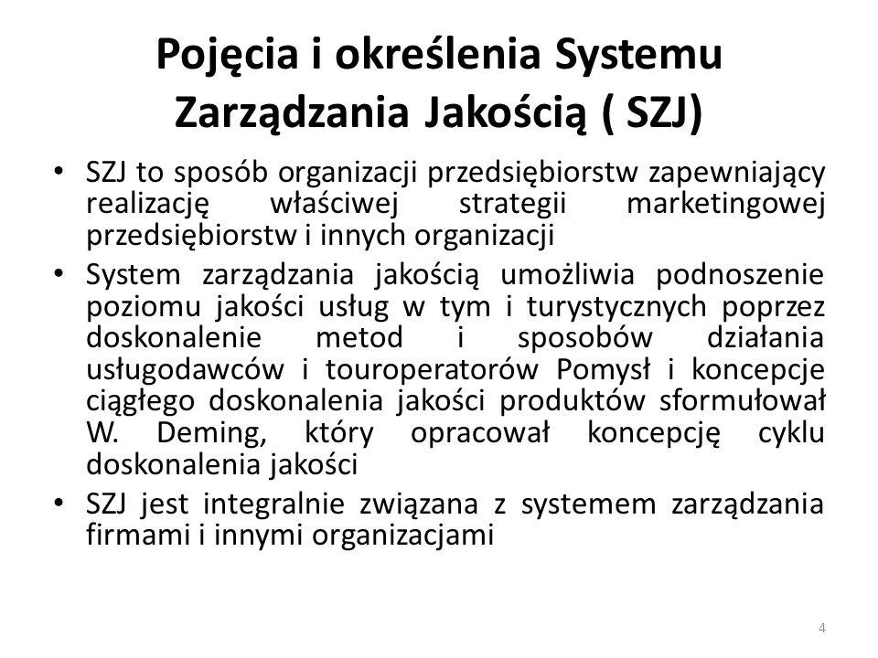 Pojęcia i określenia Systemu Zarządzania Jakością ( SZJ) SZJ to sposób organizacji przedsiębiorstw zapewniający realizację właściwej strategii marketingowej przedsiębiorstw i innych organizacji System zarządzania jakością umożliwia podnoszenie poziomu jakości usług w tym i turystycznych poprzez doskonalenie metod i sposobów działania usługodawców i touroperatorów Pomysł i koncepcje ciągłego doskonalenia jakości produktów sformułował W.