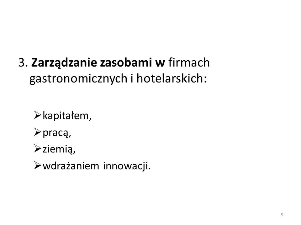 3. Zarządzanie zasobami w firmach gastronomicznych i hotelarskich:  kapitałem,  pracą,  ziemią,  wdrażaniem innowacji. 8
