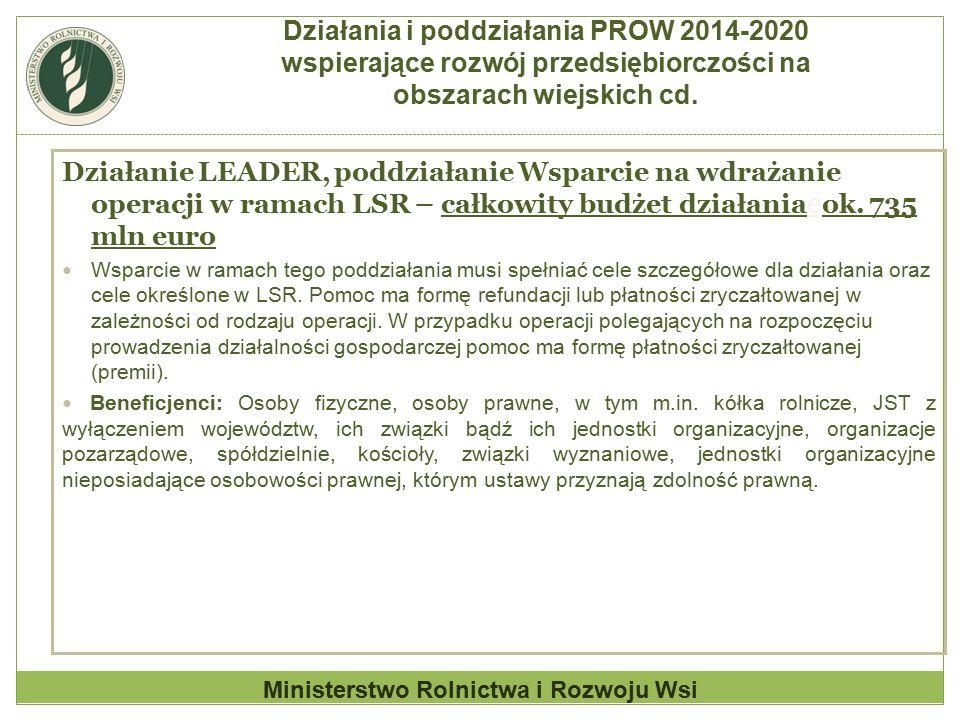 Działanie LEADER, poddziałanie Wsparcie na wdrażanie operacji w ramach LSR – całkowity budżet działania e ok. 735 mln euro Wsparcie w ramach tego podd
