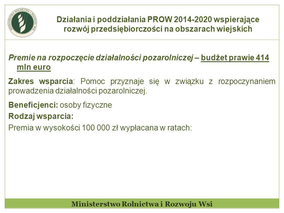 Działania i poddziałania PROW 2014-2020 wspierające rozwój przedsiębiorczości na obszarach wiejskich Ministerstwo Rolnictwa i Rozwoju Wsi Premie na ro