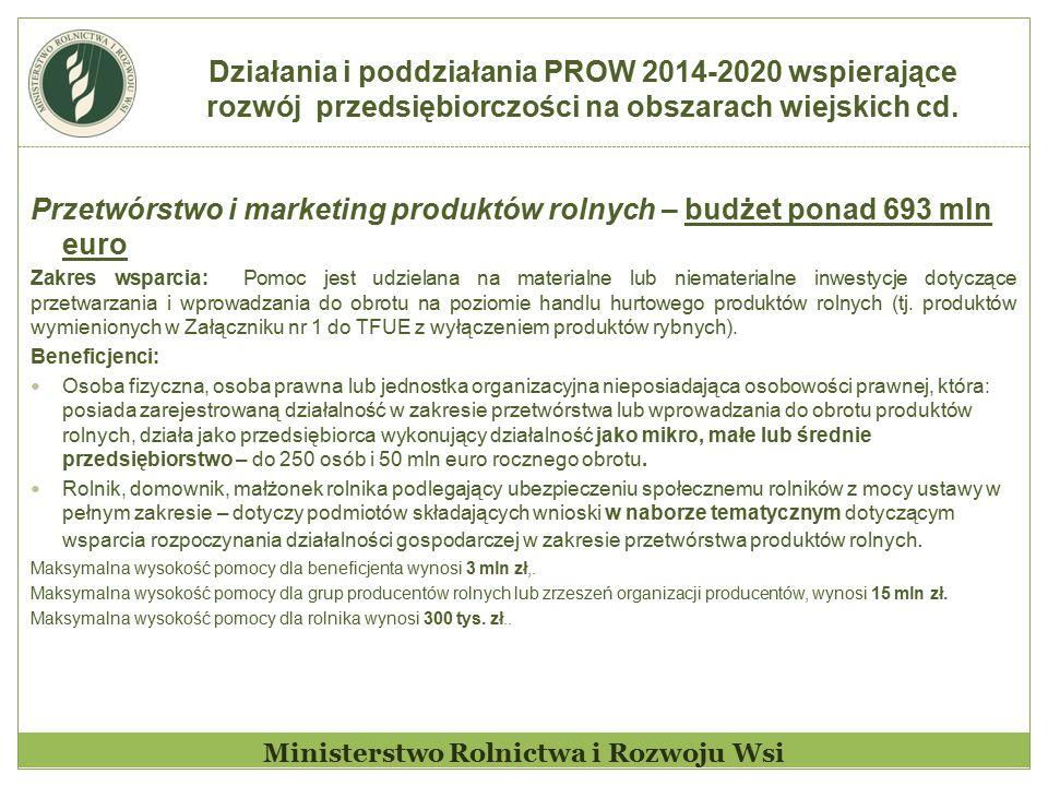 Działania i poddziałania PROW 2014-2020 wspierające rozwój przedsiębiorczości na obszarach wiejskich cd. Ministerstwo Rolnictwa i Rozwoju Wsi Przetwór