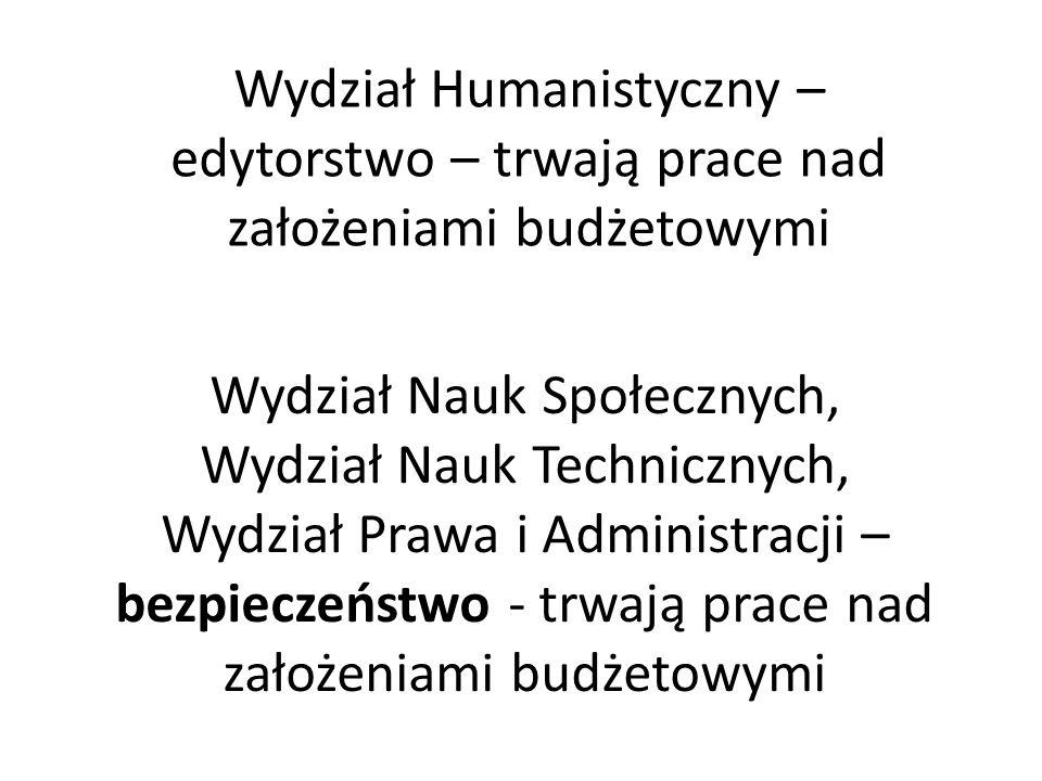 Wydział Humanistyczny – edytorstwo – trwają prace nad założeniami budżetowymi Wydział Nauk Społecznych, Wydział Nauk Technicznych, Wydział Prawa i Adm