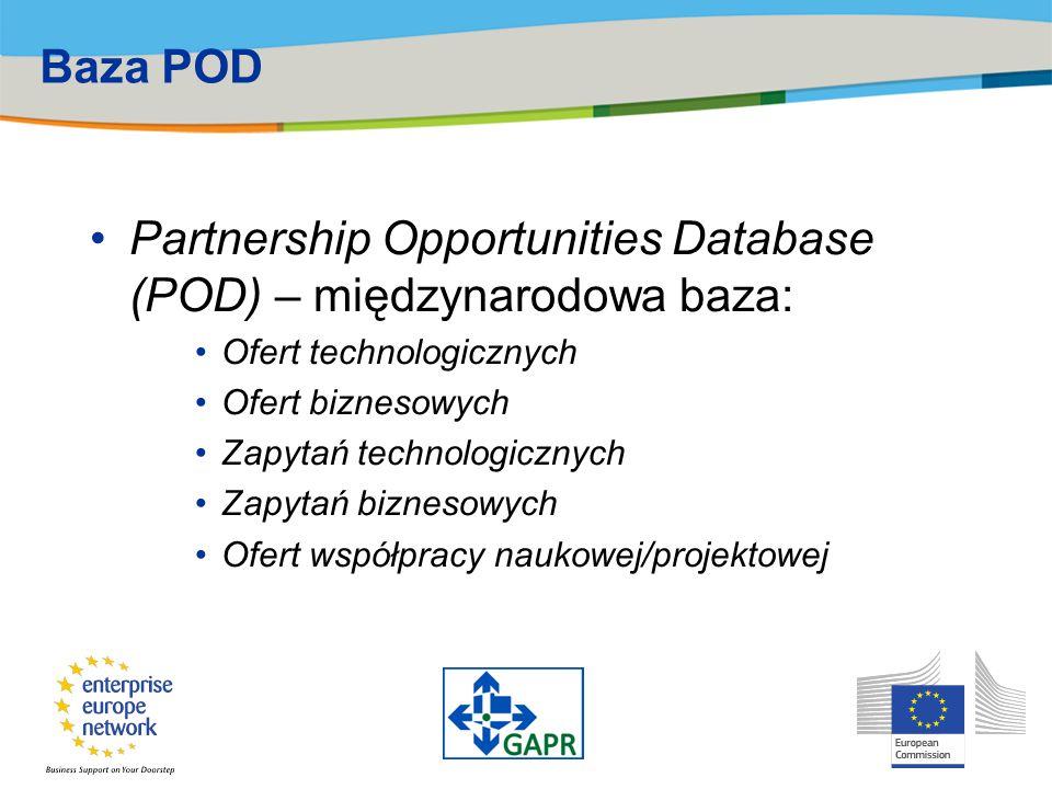 Baza POD Partnership Opportunities Database (POD) – międzynarodowa baza: Ofert technologicznych Ofert biznesowych Zapytań technologicznych Zapytań biz