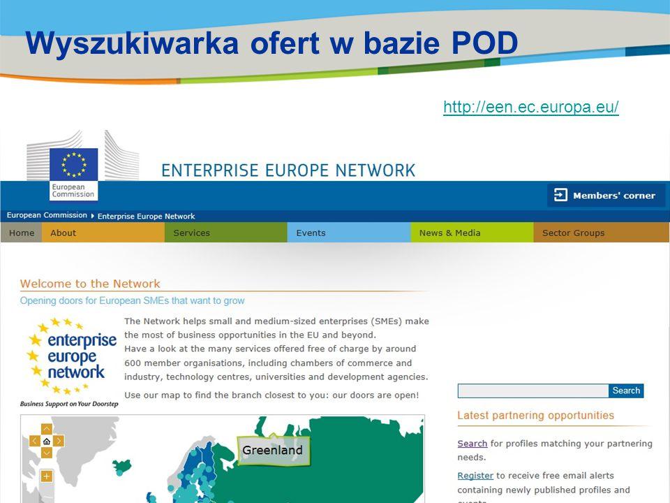 Wyszukiwarka ofert w bazie POD http://een.ec.europa.eu/