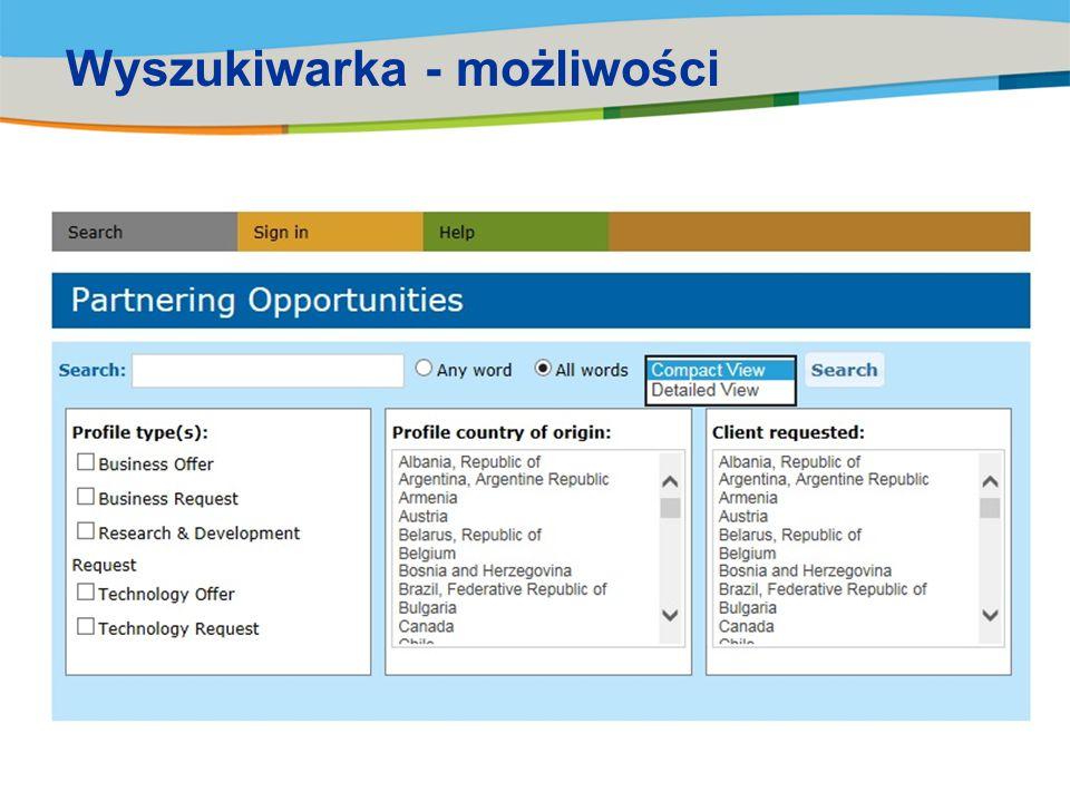 Wyszukiwarka - możliwości