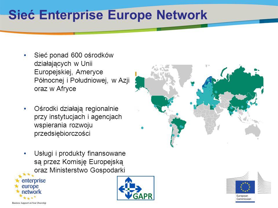 Sieć Enterprise Europe Network Sieć ponad 600 ośrodków działających w Unii Europejskiej, Ameryce Północnej i Południowej, w Azji oraz w Afryce Ośrodki działają regionalnie przy instytucjach i agencjach wspierania rozwoju przedsiębiorczości Usługi i produkty finansowane są przez Komisję Europejską oraz Ministerstwo Gospodarki
