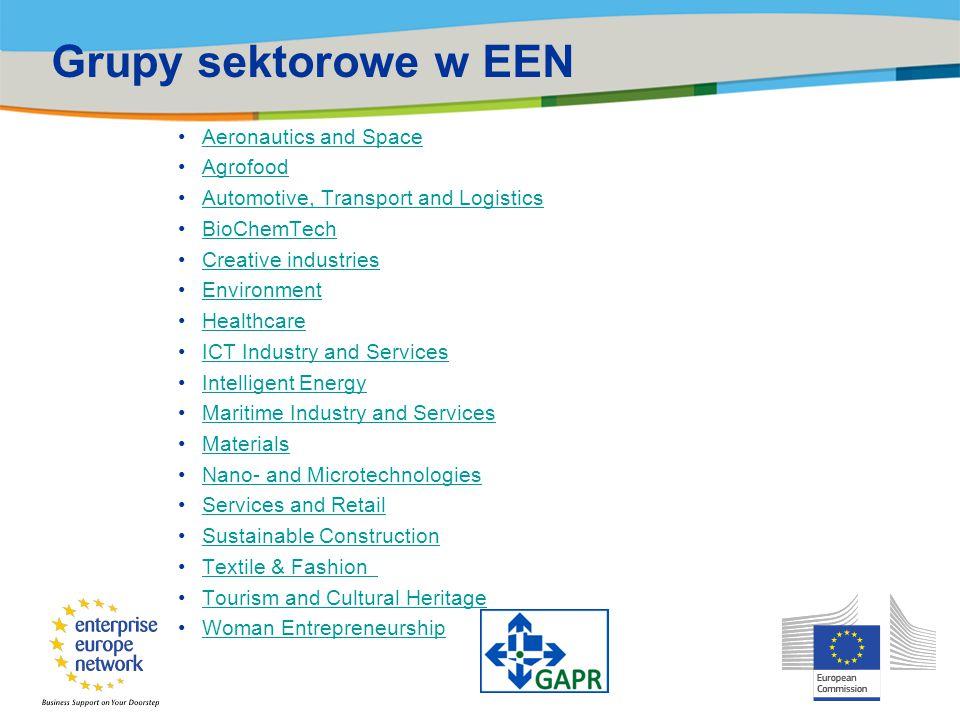 Główne zadania sieci Pomoc firmom z sektora MŚP oraz instytucjom badawczym w nawiązaniu współpracy biznesowej oraz naukowej z zagranicznymi partnerami Działania na rzecz wzrostu konkurencyjności firm i instytucji naukowych poprzez promocję ich najnowszych rozwiązań w Europie oraz poza jej granicami Wspieranie międzynarodowego transferu technologii