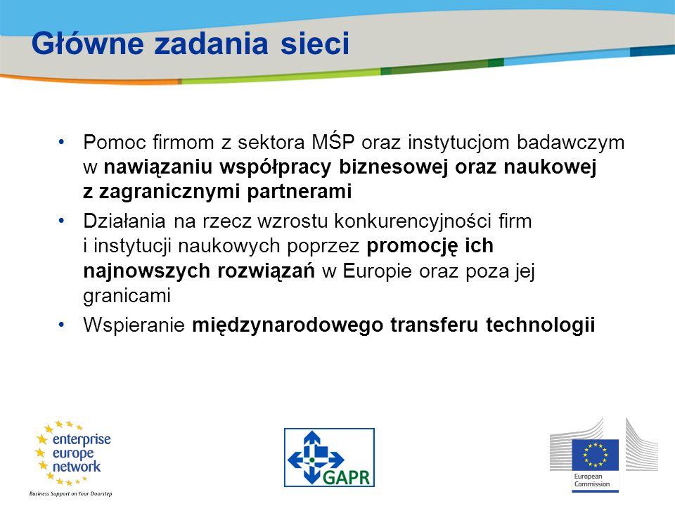 Główne zadania sieci Pomoc firmom z sektora MŚP oraz instytucjom badawczym w nawiązaniu współpracy biznesowej oraz naukowej z zagranicznymi partnerami