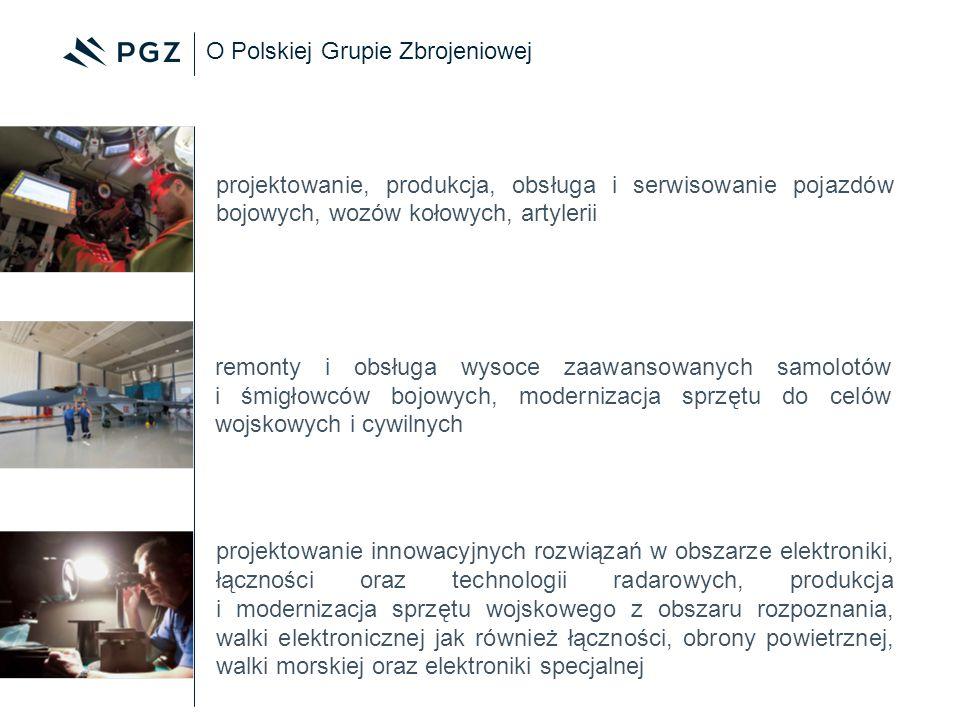 O Polskiej Grupie Zbrojeniowej projektowanie, produkcja, obsługa i serwisowanie pojazdów bojowych, wozów kołowych, artylerii remonty i obsługa wysoce
