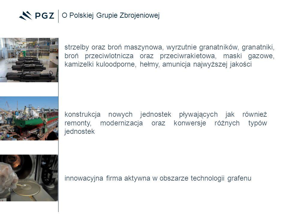 O Polskiej Grupie Zbrojeniowej innowacyjna firma aktywna w obszarze technologii grafenu konstrukcja nowych jednostek pływających jak również remonty,