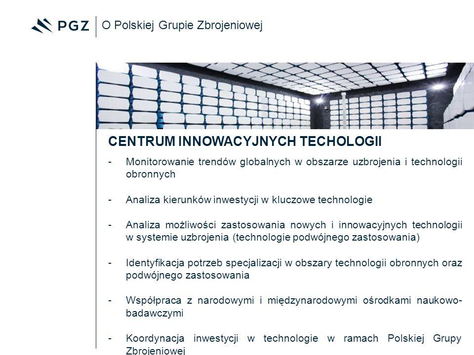 O Polskiej Grupie Zbrojeniowej -Monitorowanie trendów globalnych w obszarze uzbrojenia i technologii obronnych -Analiza kierunków inwestycji w kluczow