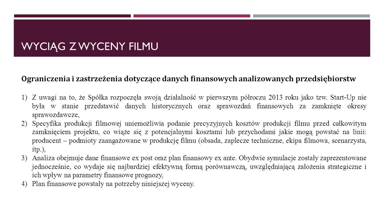 WYCIĄG Z WYCENY FILMU Ograniczenia i zastrzeżenia dotyczące danych finansowych analizowanych przedsiębiorstw 1)Z uwagi na to, że Spółka rozpoczęła swoją działalność w pierwszym półroczu 2013 roku jako tzw.
