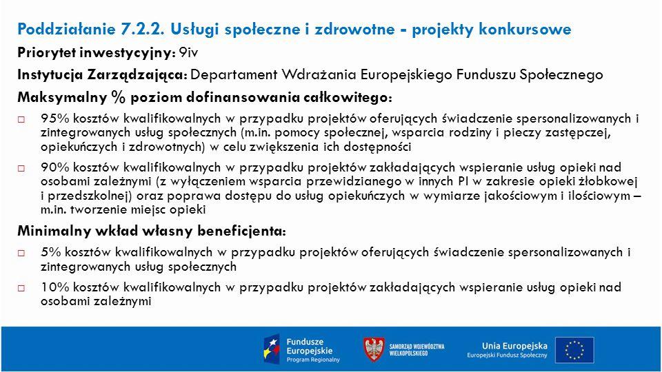 Poddziałanie 7.2.2. Usługi społeczne i zdrowotne - projekty konkursowe Priorytet inwestycyjny: 9iv Instytucja Zarządzająca: Departament Wdrażania Euro