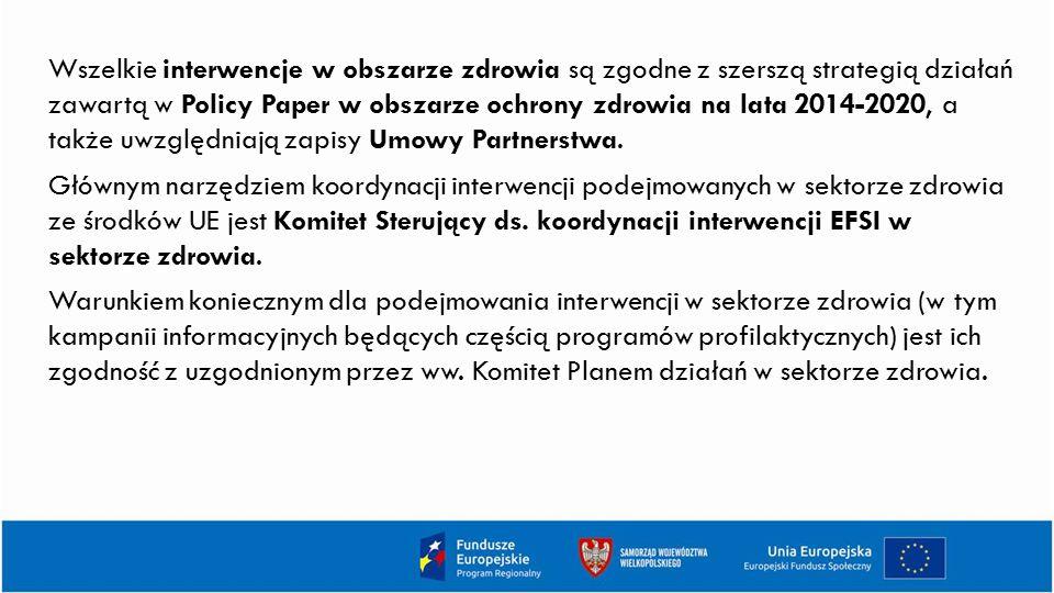 Wszelkie interwencje w obszarze zdrowia są zgodne z szerszą strategią działań zawartą w Policy Paper w obszarze ochrony zdrowia na lata 2014-2020, a t