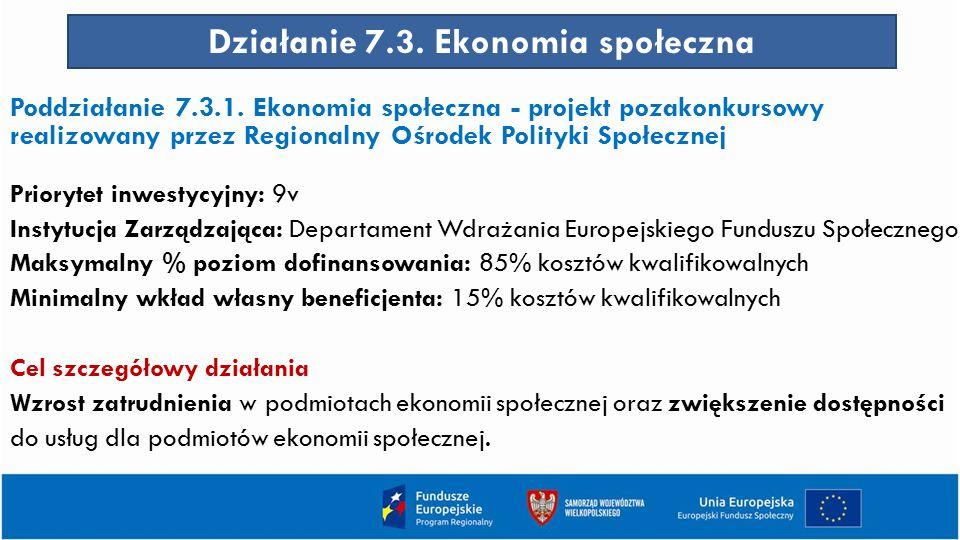 Działanie 7.3. Ekonomia społeczna Poddziałanie 7.3.1. Ekonomia społeczna - projekt pozakonkursowy realizowany przez Regionalny Ośrodek Polityki Społec
