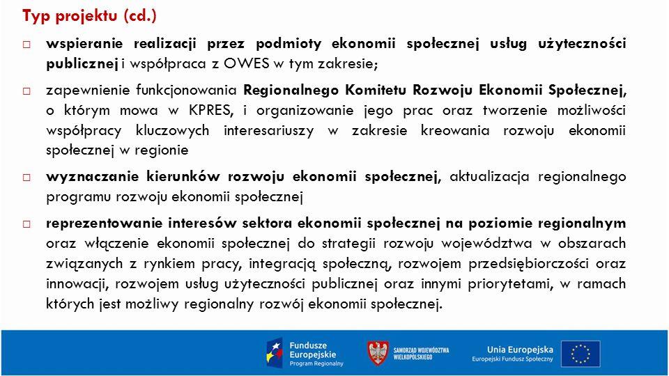 Typ projektu (cd.)  wspieranie realizacji przez podmioty ekonomii społecznej usług użyteczności publicznej i współpraca z OWES w tym zakresie;  zape