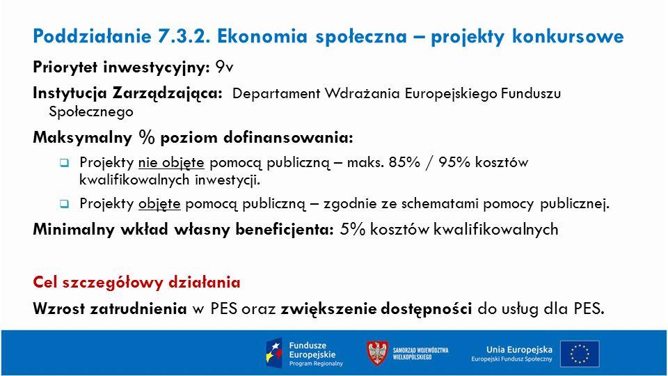 Poddziałanie 7.3.2. Ekonomia społeczna – projekty konkursowe Priorytet inwestycyjny: 9v Instytucja Zarządzająca: Departament Wdrażania Europejskiego F