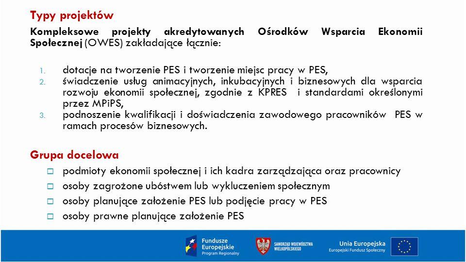 Typy projektów Kompleksowe projekty akredytowanych Ośrodków Wsparcia Ekonomii Społecznej (OWES) zakładające łącznie: 1. dotacje na tworzenie PES i two