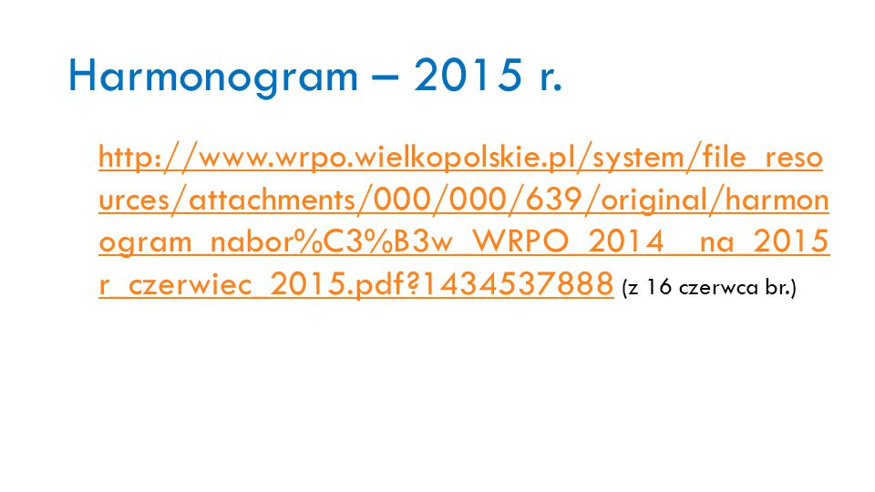 Harmonogram – 2015 r.