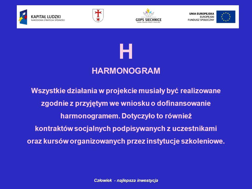 H HARMONOGRAM Człowiek - najlepsza inwestycja Wszystkie działania w projekcie musiały być realizowane zgodnie z przyjętym we wniosku o dofinansowanie harmonogramem.