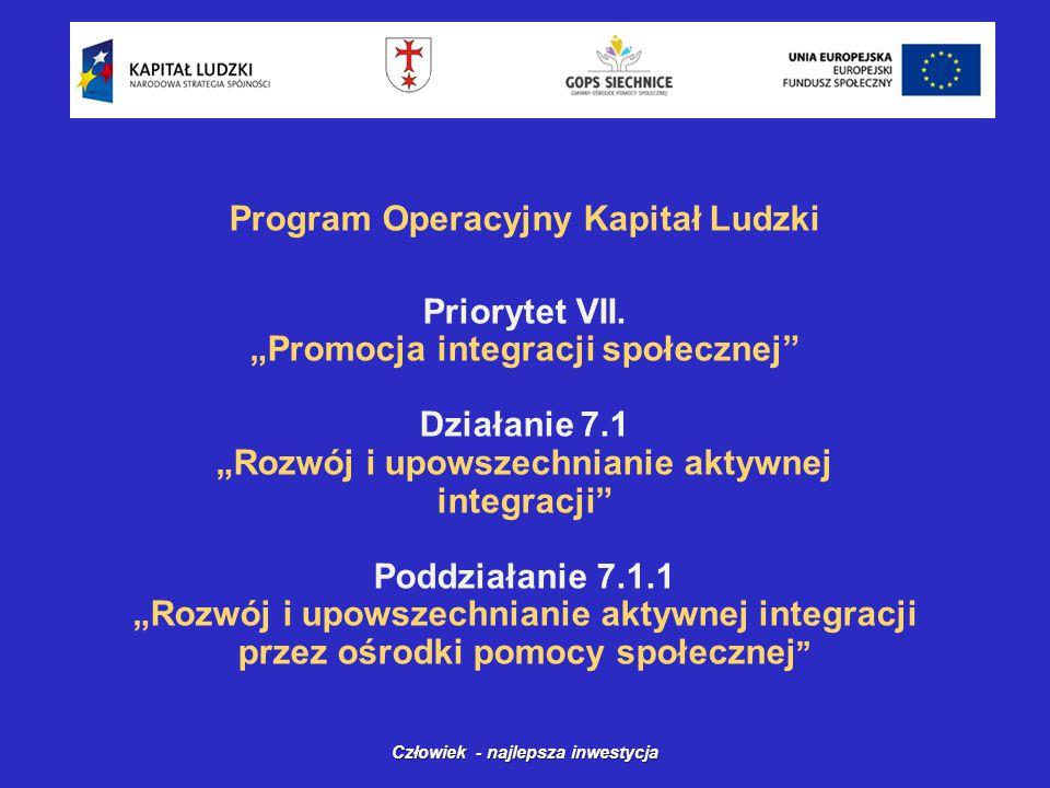 Program Operacyjny Kapitał Ludzki Priorytet VII.
