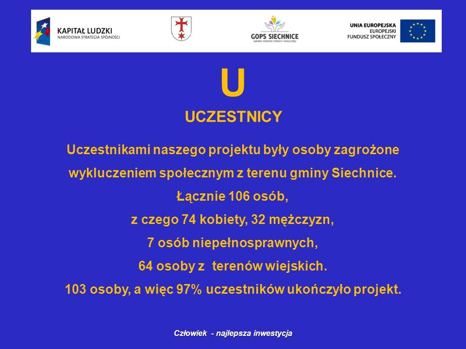 U UCZESTNICY Człowiek - najlepsza inwestycja Uczestnikami naszego projektu były osoby zagrożone wykluczeniem społecznym z terenu gminy Siechnice.