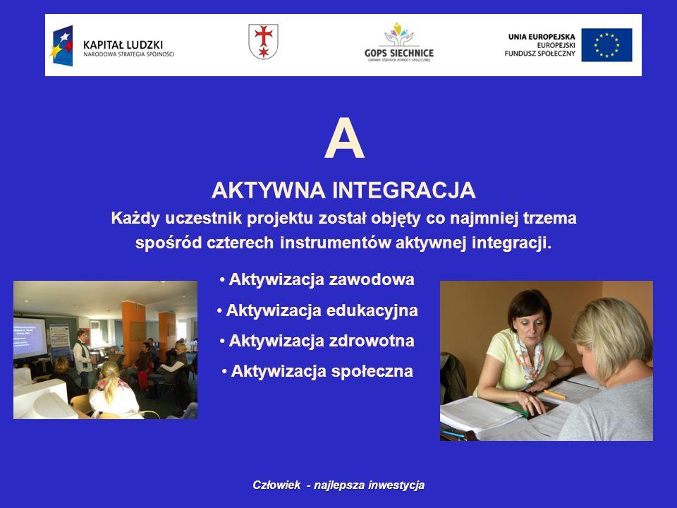 A AKTYWNA INTEGRACJA Każdy uczestnik projektu został objęty co najmniej trzema spośród czterech instrumentów aktywnej integracji.