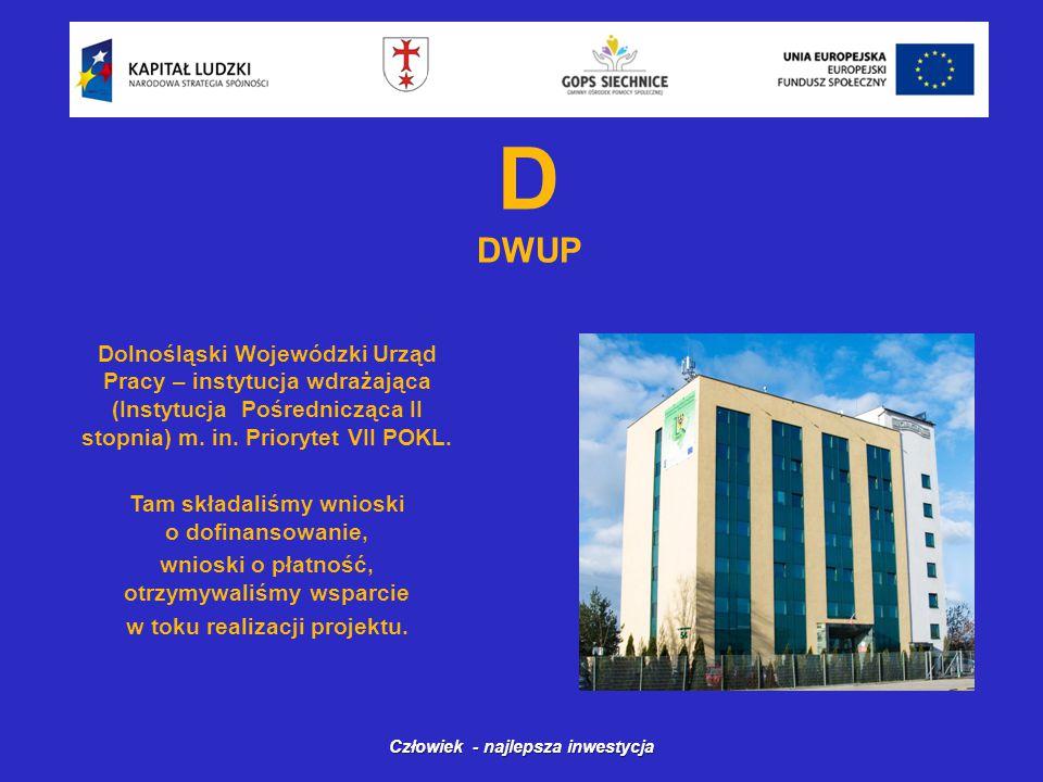 D DWUP Dolnośląski Wojewódzki Urząd Pracy – instytucja wdrażająca (Instytucja Pośrednicząca II stopnia) m.