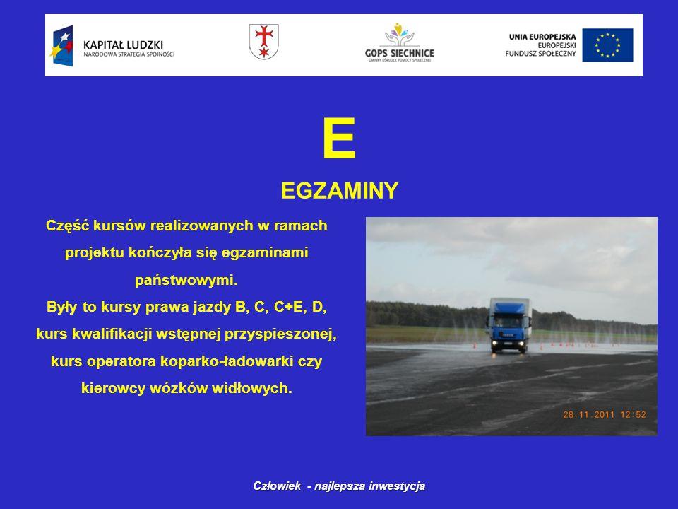E EGZAMINY Człowiek - najlepsza inwestycja Część kursów realizowanych w ramach projektu kończyła się egzaminami państwowymi.