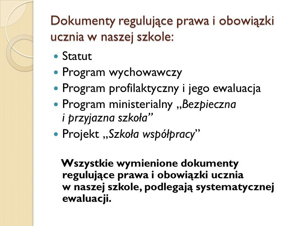 Dokumenty regulujące prawa i obowiązki ucznia w naszej szkole: Statut Program wychowawczy Program profilaktyczny i jego ewaluacja Program ministerialn