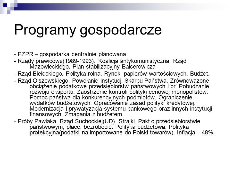 Programy gospodarcze - PZPR – gospodarka centralnie planowana - Rządy prawicowe(1989-1993). Koalicja antykomunistyczna. Rząd Mazowieckiego. Plan stabi