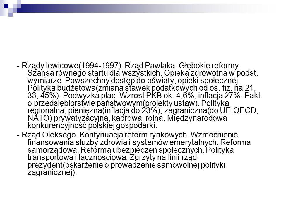 - Rządy lewicowe(1994-1997).Rząd Pawlaka. Głębokie reformy.