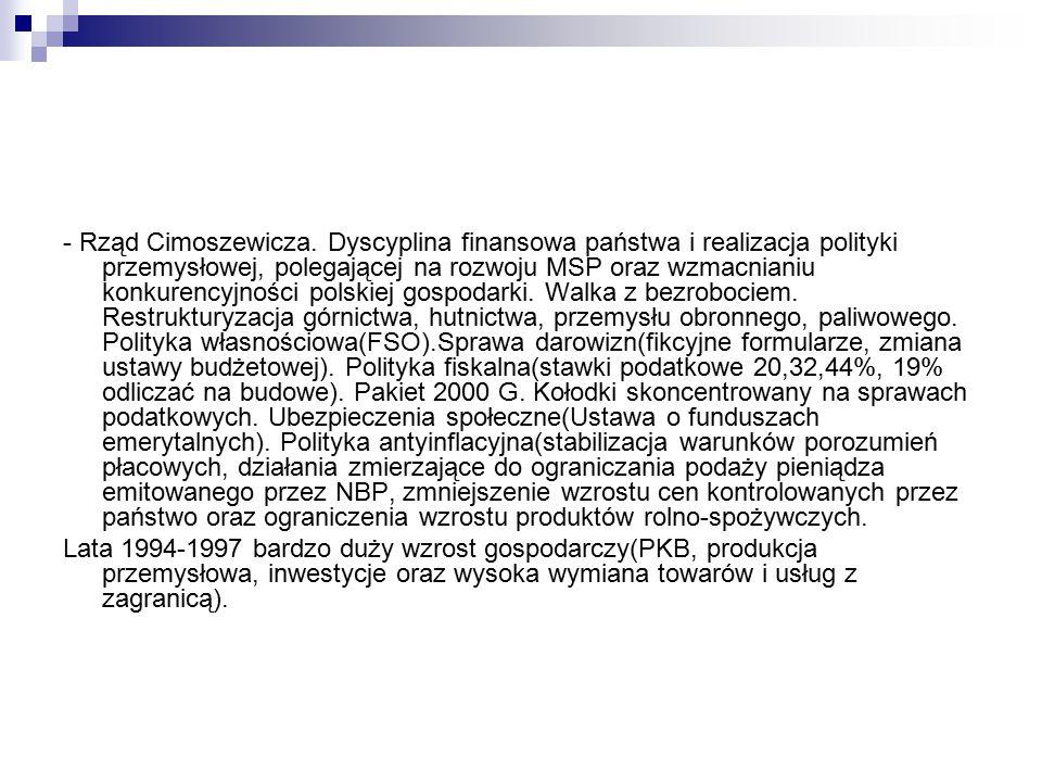 - Rząd Cimoszewicza. Dyscyplina finansowa państwa i realizacja polityki przemysłowej, polegającej na rozwoju MSP oraz wzmacnianiu konkurencyjności pol