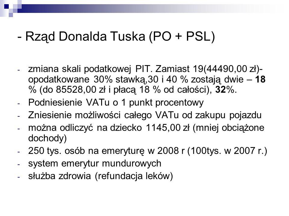 - Rząd Donalda Tuska (PO + PSL) - zmiana skali podatkowej PIT. Zamiast 19(44490,00 zł)- opodatkowane 30% stawką,30 i 40 % zostają dwie – 18 % (do 8552