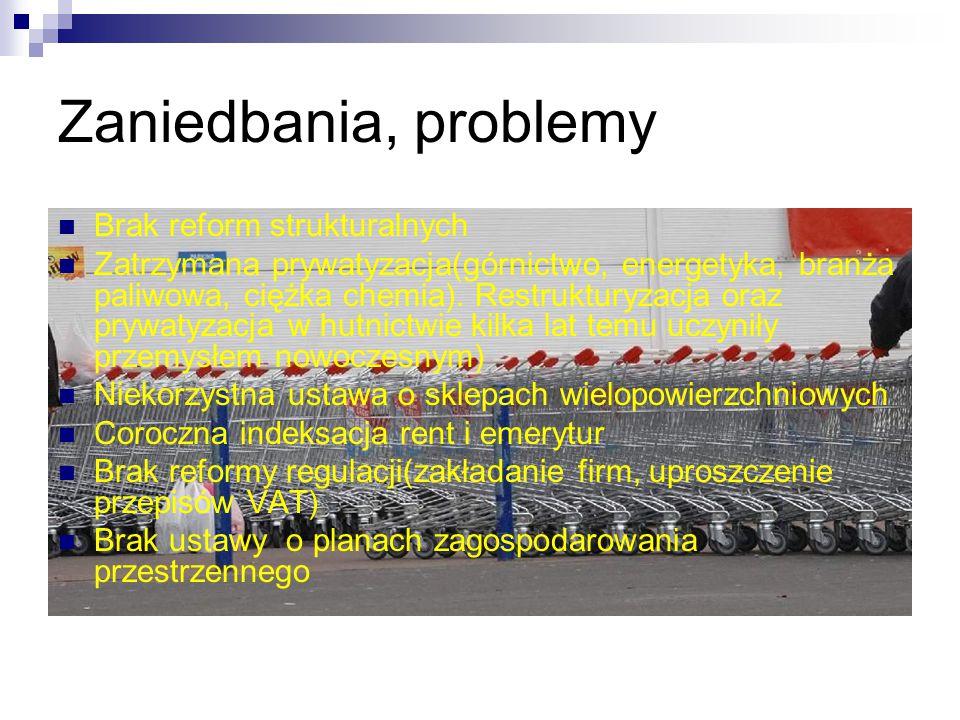 Zaniedbania, problemy Brak reform strukturalnych Zatrzymana prywatyzacja(górnictwo, energetyka, branża paliwowa, ciężka chemia). Restrukturyzacja oraz