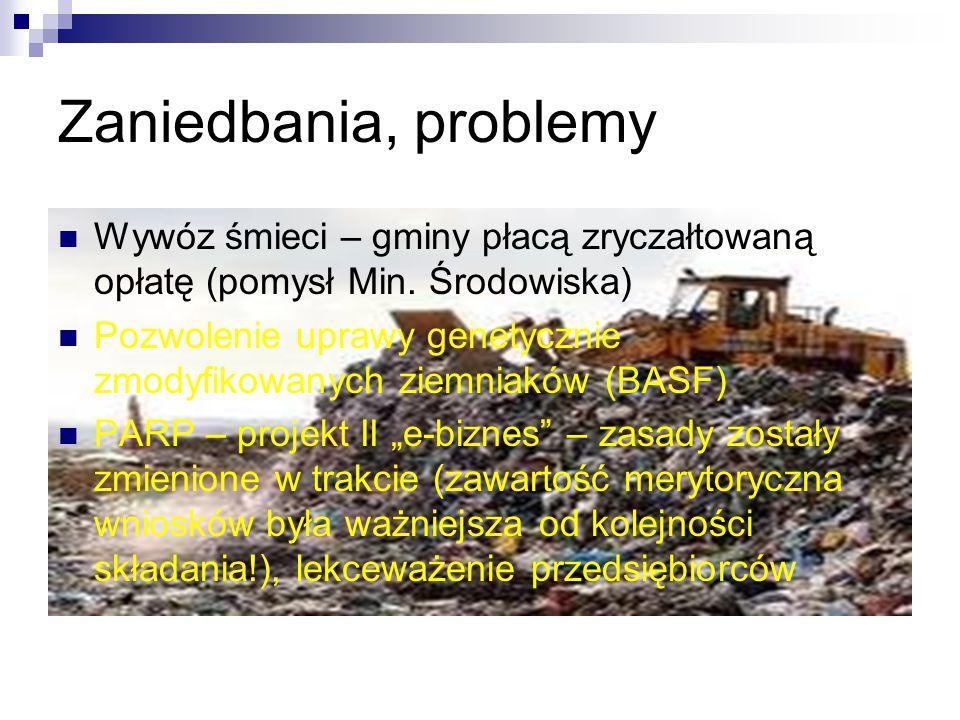 Zaniedbania, problemy Wywóz śmieci – gminy płacą zryczałtowaną opłatę (pomysł Min. Środowiska) Pozwolenie uprawy genetycznie zmodyfikowanych ziemniakó