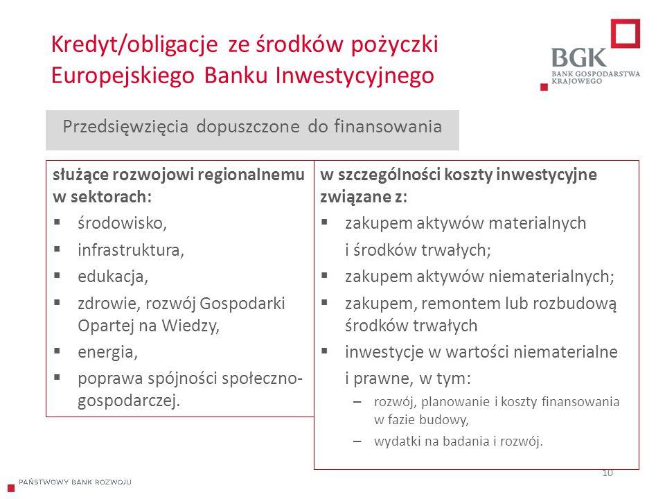 204/204/204 218/32/56 118/126/132 183/32/51 227/30/54 Kredyt/obligacje ze środków pożyczki Europejskiego Banku Inwestycyjnego 10 Przedsięwzięcia dopus